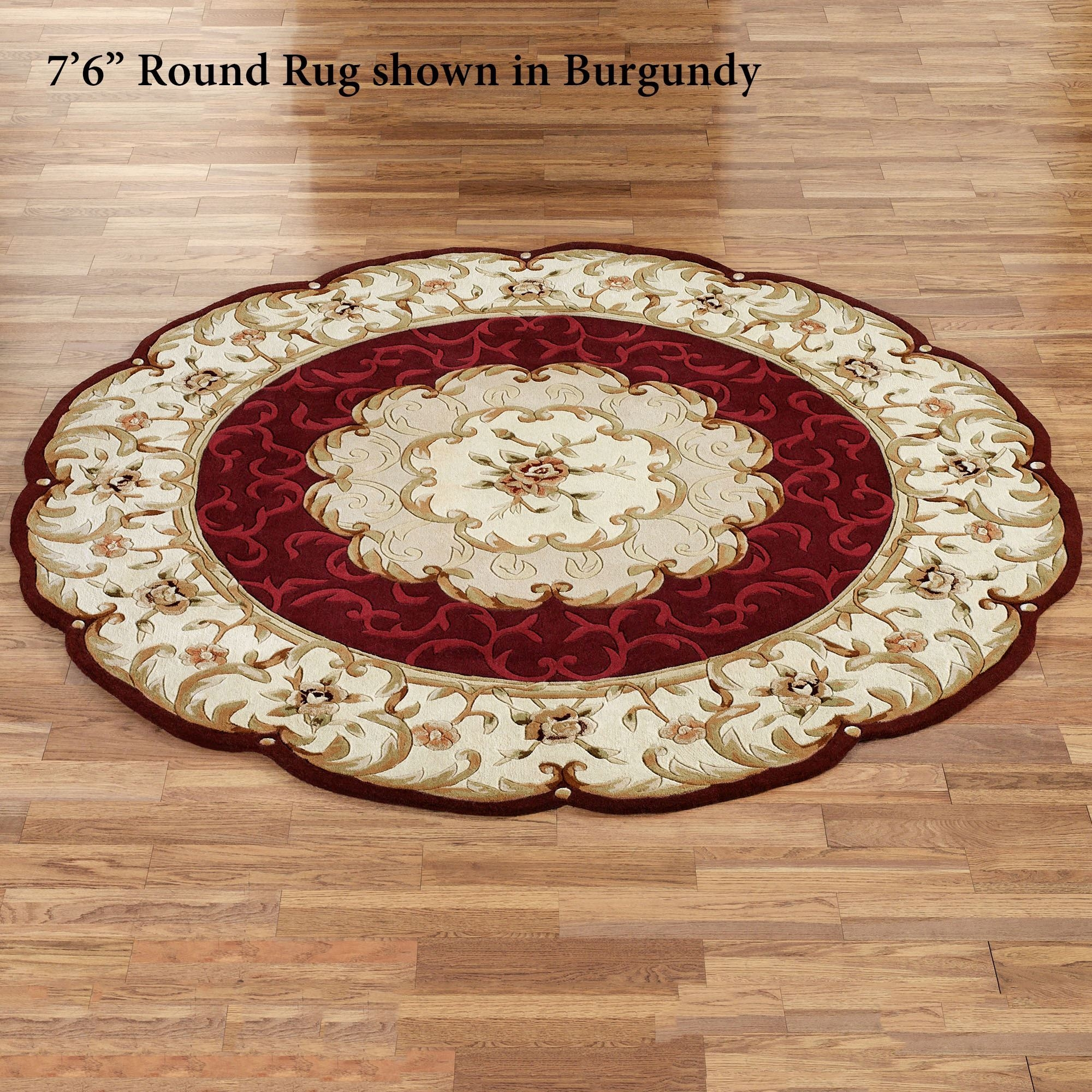 Evaline Wool Aubusson Round Area Rugs With Round Wool Rugs (Image 8 of 15)