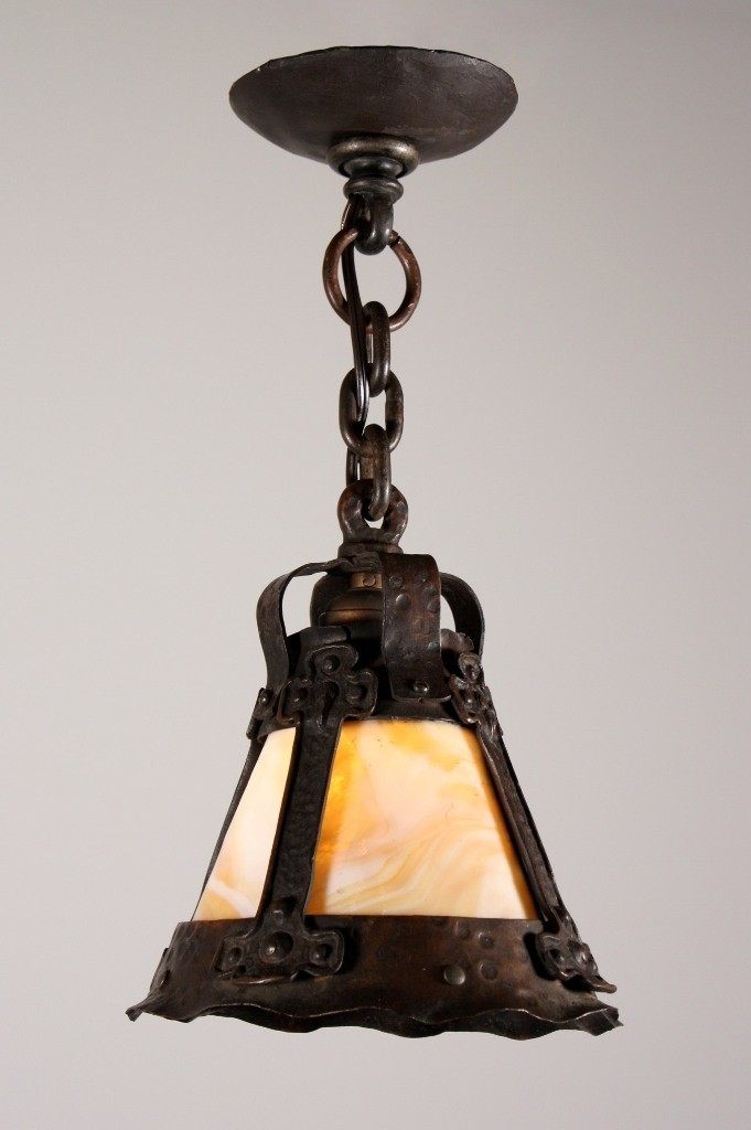 Excellent Best Arts And Crafts Pendant Lighting Throughout Rare Antique Arts Crafts Pendant Light With Slag Glass Early (View 19 of 25)