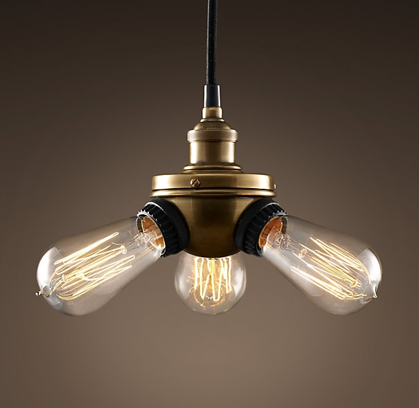 Excellent Deluxe Bare Bulb Filament Pendants For Bare Bulb Filament Triple Pendant Aged Steel Lighting (Image 8 of 25)