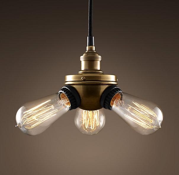 Excellent Deluxe Bare Bulb Filament Pendants For Bare Bulb Filament Triple Pendant Aged Steel Lighting (View 3 of 25)