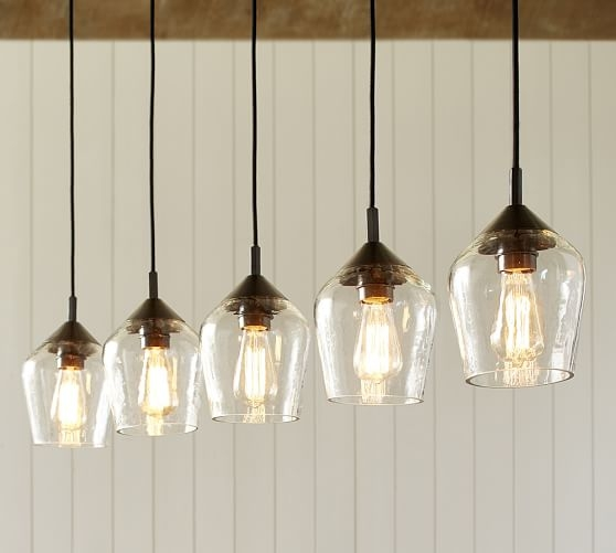 Excellent Deluxe Barn Pendant Light Fixtures Pertaining To Donovan Glass 5 Light Pendant Pottery Barn (Image 11 of 25)