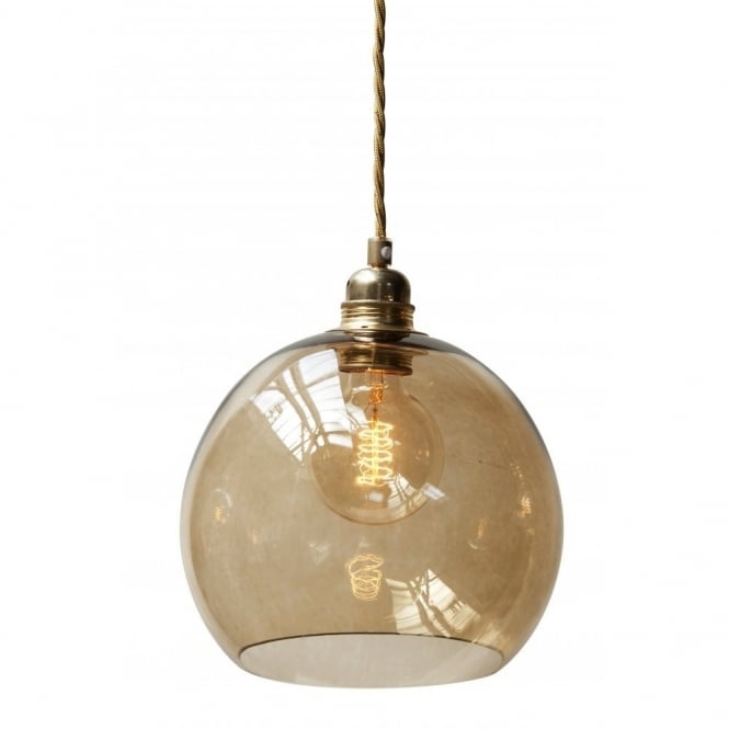 Excellent Deluxe Brown Glass Pendant Lights Throughout Chestnut Brown Blown Glass Ceiling Pendant With Gold Braided Cable (Image 9 of 25)