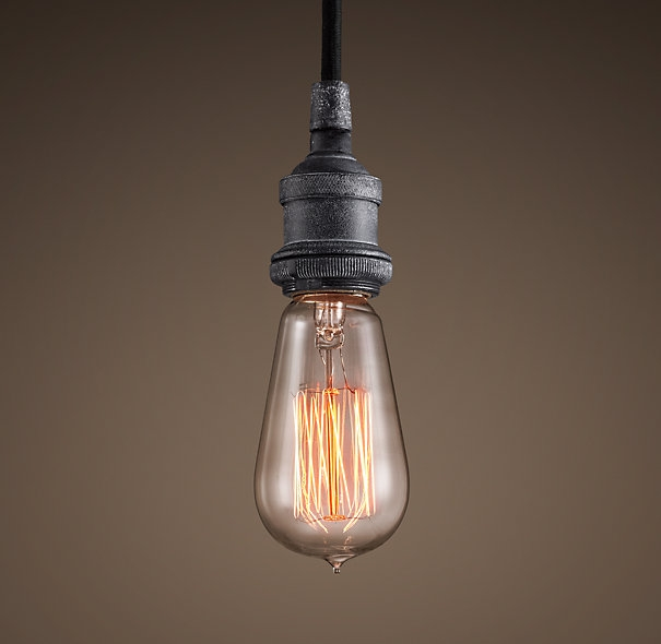 Excellent Elite Bare Bulb Hanging Light Fixtures Pertaining To Restoration Hardware Factory Filament Bare Bulb Single Pendant (Image 7 of 25)