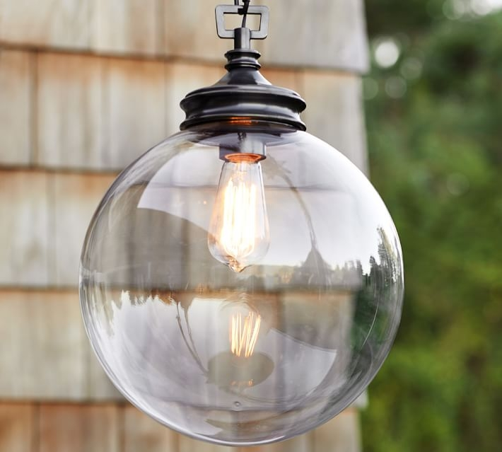 Excellent Elite Outdoor Pendant Lights Regarding Calhoun Glass Indooroutdoor Pendant Pottery Barn (Image 6 of 25)