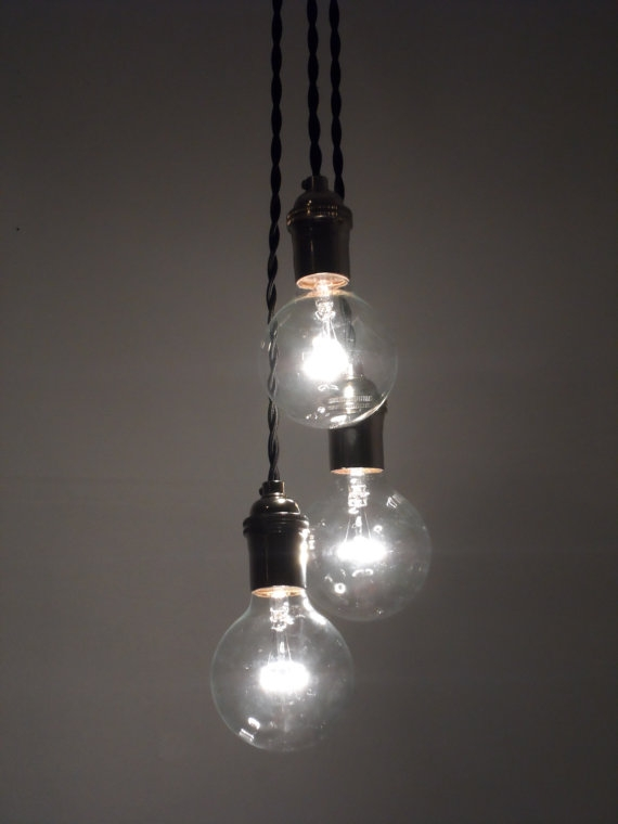 Excellent Famous Three Light Bare Bulb Pendants With Regard To 3 Light Chandelier W Bare Bulb Pendant Lights Red Twisted (Image 6 of 25)