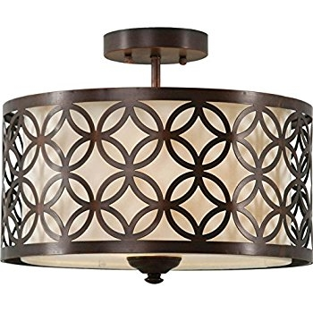 Excellent Favorite Allen Roth Lighting With Allen Roth Earling 15 In W Oil Rubbed Bronze Fabric Semi Flush (Image 8 of 25)