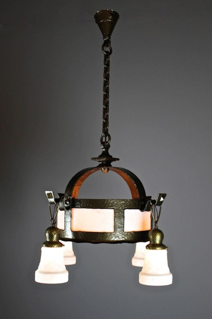 Excellent High Quality Arts And Crafts Pendant Lighting Inside Arts Crafts Hand Hammered Fixture 4 Light (Image 6 of 25)