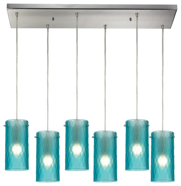 Excellent Latest Aqua Glass Pendant Lights Throughout Synthesis 6 Light Pendant In Satin Nickel Contemporary Pendant (Image 4 of 25)