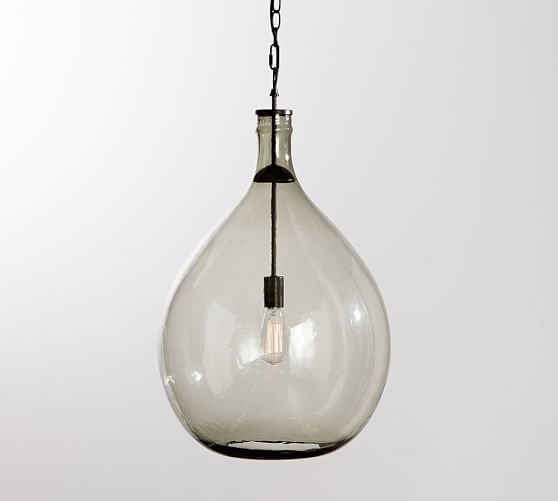 Excellent Latest Glass Jug Pendants With Clift Oversized Glass Pendant Pottery Barn (Image 10 of 25)