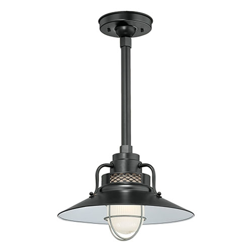 Excellent New Railroad Pendant Lights With R Series Satin Black 14 Inch Outdoor Railroad Pendant With 24 Inch (Image 9 of 25)