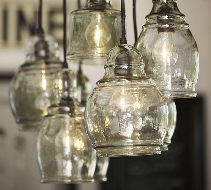 Excellent New Recycled Glass Pendant Lights With Regard To Paxton Glass 8 Light Pendant Pottery Barn (Image 9 of 25)