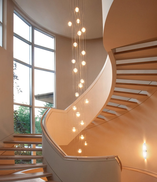 Excellent New Stairwell Lighting Pendants Inside Use Large Globe Light Bulbs To Make A Statement In Stairway (Image 6 of 25)