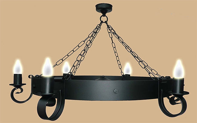 Excellent New Wrought Iron Lights Throughout Wrought Iron Black Cartwheel Ceiling Light Uk Made 853  (Image 6 of 25)