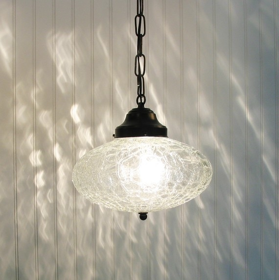 Excellent Popular Cracked Glass Pendant Lights For Kennibec Large Retro Clear Crackle Glass Pendant Light (View 20 of 25)