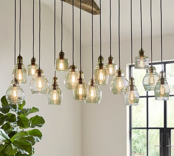 Excellent Preferred Paxton Pendant Lights Pertaining To Paxton Glass 16 Light Pendant Pottery Barn (View 6 of 25)