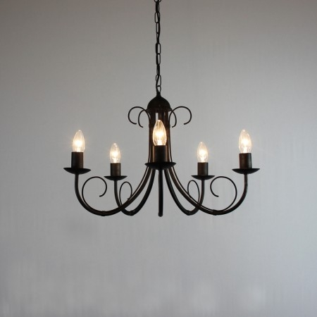 Excellent Preferred Wrought Iron Light Fittings Regarding 5 Arm Chandeliers Bespoke Lighting Co (View 4 of 25)