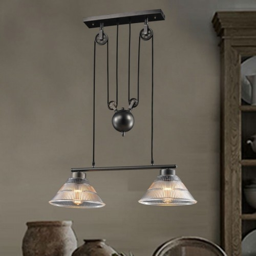Excellent Premium Double Pulley Pendant Lights For Pulley Double Pendant (Image 5 of 25)