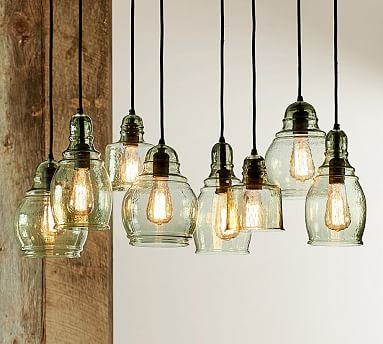 Excellent Premium Paxton Glass 3 Pendant Lights Throughout Paxton Glass 8 Light Pendant Pottery Barn (Image 9 of 25)