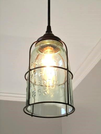 Excellent Premium Rustic Light Pendants In Rustic Cage Half Gallon Mason Jar Pendant Light Decor Lighting (View 4 of 25)