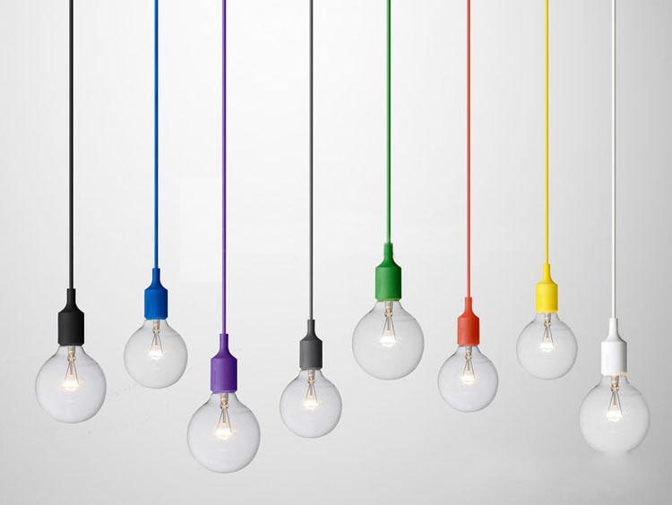 Excellent Top Coloured Cord Pendant Lights Inside Purple Silicon Pendant Light With Bulb Wonderful Lights (Image 11 of 25)