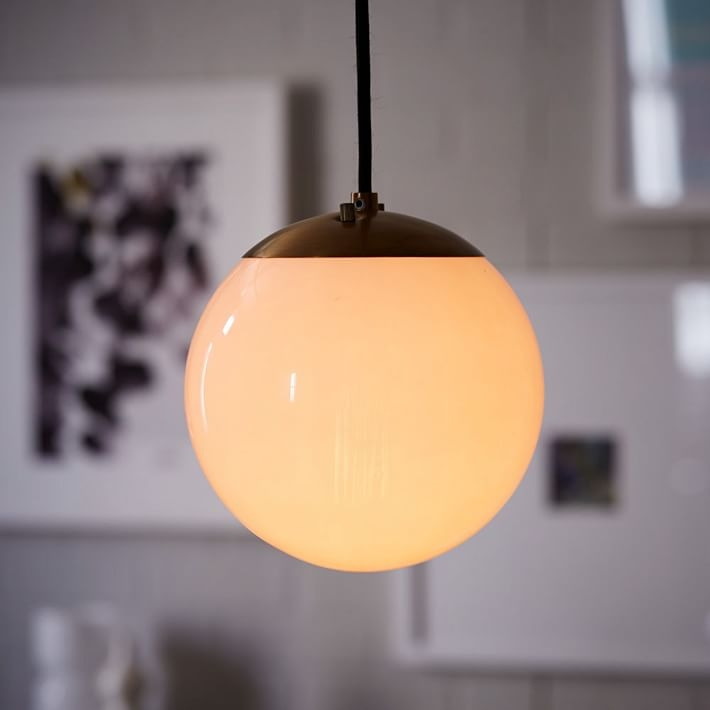 Excellent Trendy Milk Glass Light Fixtures Within Globe Pendant Antique Brassmilk Finish West Elm (Image 9 of 25)