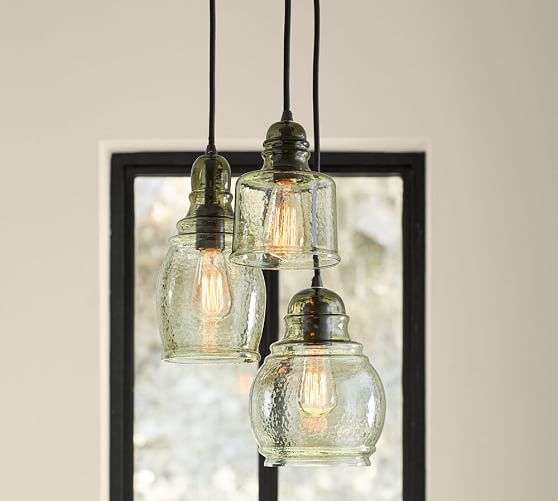 Excellent Trendy Paxton Pendant Lights For Paxton Glass 3 Light Pendant Pottery Barn (Image 8 of 25)
