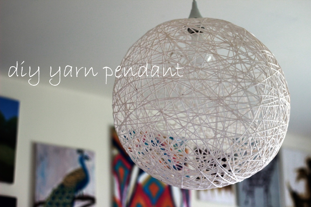 Excellent Unique Diy Yarn Pendant Lights Pertaining To My Diy Yarn Pendant Thetexitarian (Image 6 of 25)