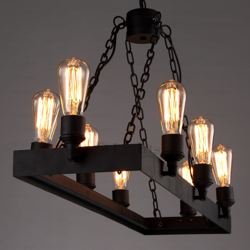 Excellent Variety Of Wrought Iron Lights With Regard To 8 Light Wrought Iron Industrial Style Lighting Fixtures (Image 7 of 25)