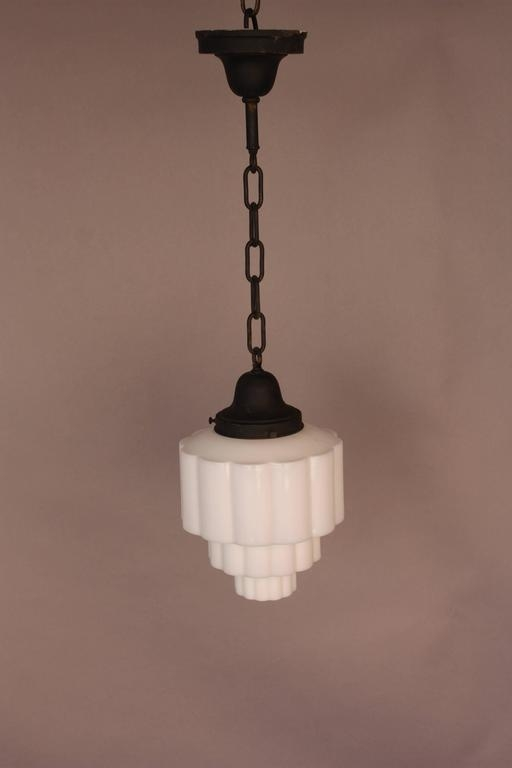 Excellent Wellknown Milk Glass Light Fixtures In Art Deco Skyscraper Milk Glass Pendant Light 1930s At 1stdibs (Image 10 of 25)