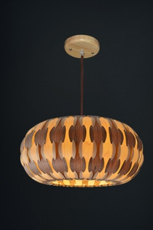 Excellent Wellknown Wood Veneer Lighting Pendants With Drum Lamp Made Of Wood Veneer (View 12 of 25)