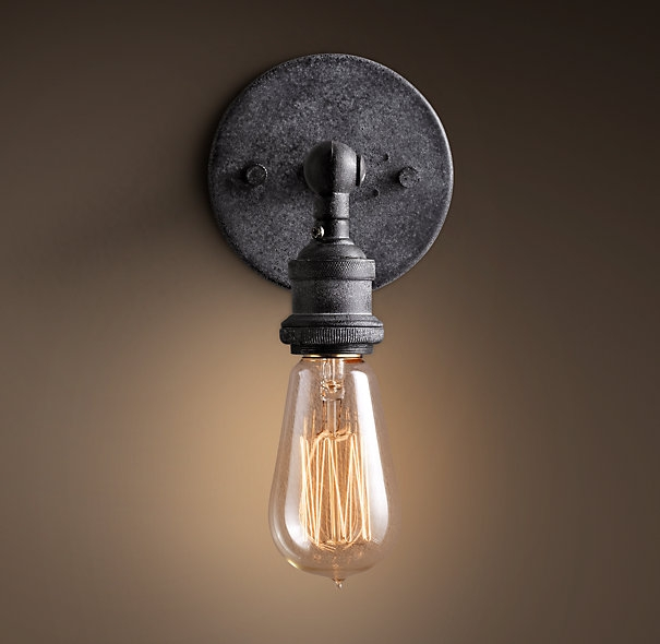 Excellent Widely Used Bare Bulb Filament Pendants Polished Nickel Intended For Stairwell Sconces 4 20th C Factory Filament Bare Bulb Sconce (Image 5 of 25)