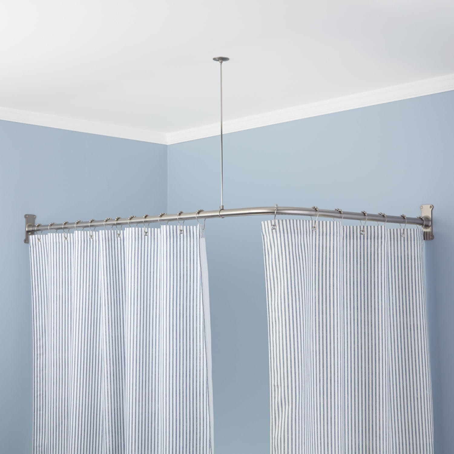 Extra Heavy Corner Shower Curtain Rod In Powder Black For The Regarding L Curtain Rods (Image 7 of 25)