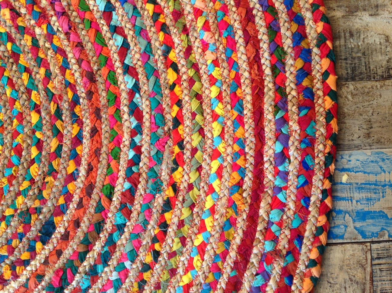 Fair Trade Round Multi Coloured Cottonjute Rug 1 12 Or 15 Intended For MultiColoured Wool Rugs (Image 2 of 15)