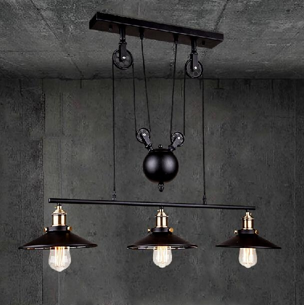 Fantastic Best Pulley Pendant Lights Regarding Rh Loft Vintage Iron Industrial Led American Country Pulley (Image 7 of 25)