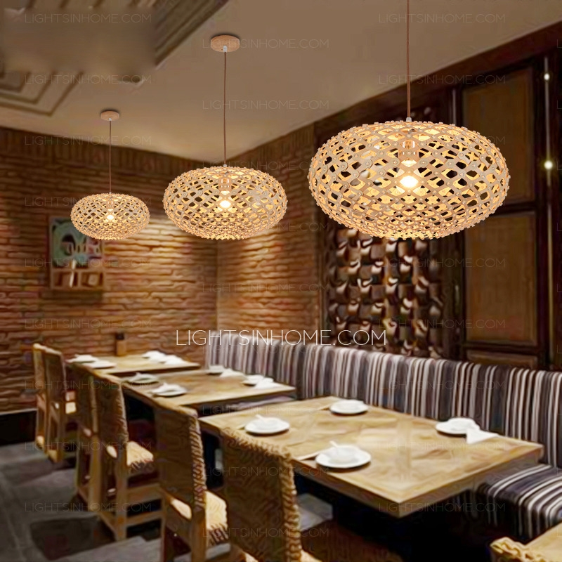 Fantastic Best Restaurant Pendant Lights With Texture Oval Shaped Wooden Japanese Pendant Lights For Restaurant (Image 7 of 25)
