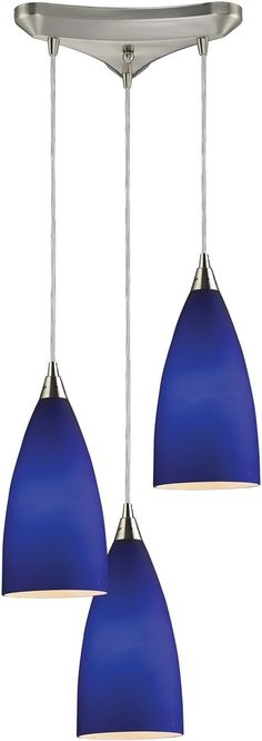 Fantastic Common Blue Pendant Light Fixtures Regarding Fire Satin Nickel Cobalt Blue Glass Monorail Pendant Cobalt (View 16 of 25)