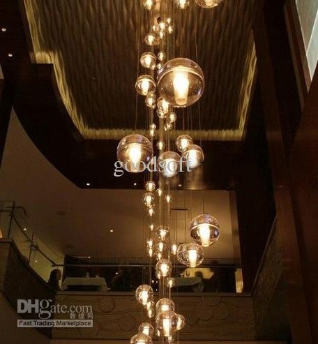 Fantastic Deluxe Stairwell Lighting Pendants Regarding Led Crystal Glass Pendant Light Meteoric Shower Stair Light For (Image 8 of 25)