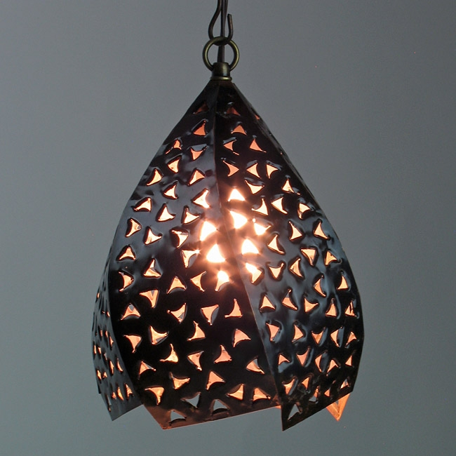 Fantastic Elite Mexican Pendant Lights Regarding Copper Punched Twisted Hanging Light (Image 7 of 25)