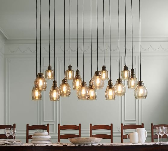 Fantastic Fashionable Paxton Glass 3light Pendants Pertaining To Paxton Glass 16 Light Pendant Pottery Barn (Image 7 of 25)