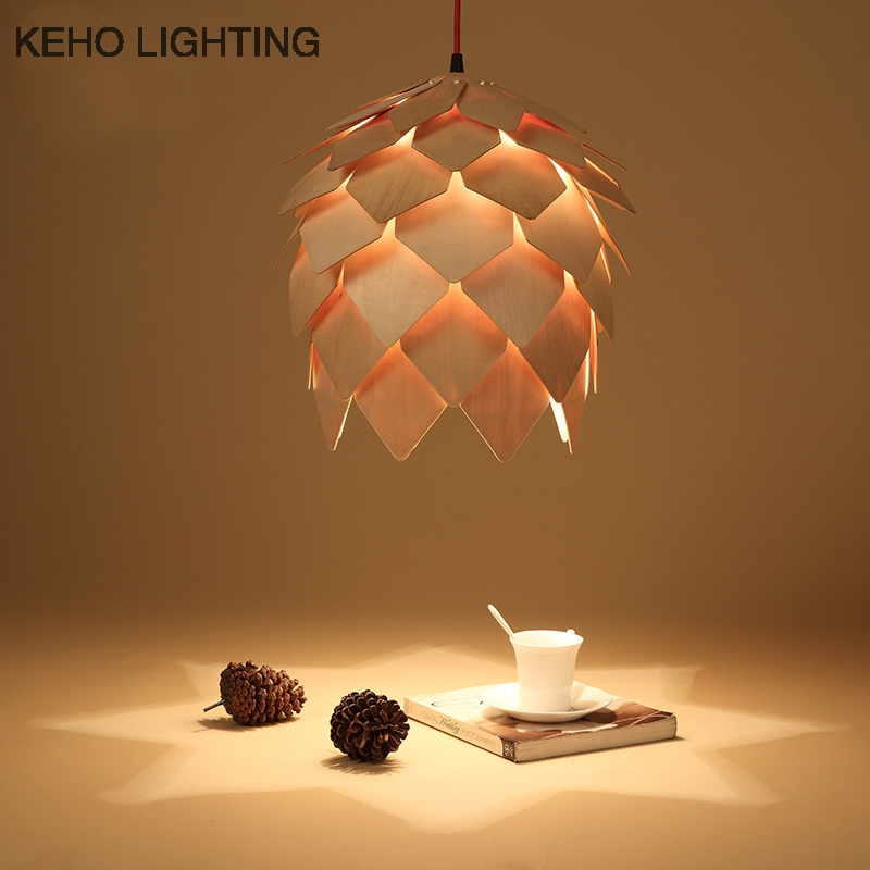 Fantastic Fashionable Wooden Pendant Lights For Sale Intended For Hot Sale Modern Art Style Pendant Light Diy Pinecone Wood Pendant (Image 13 of 25)