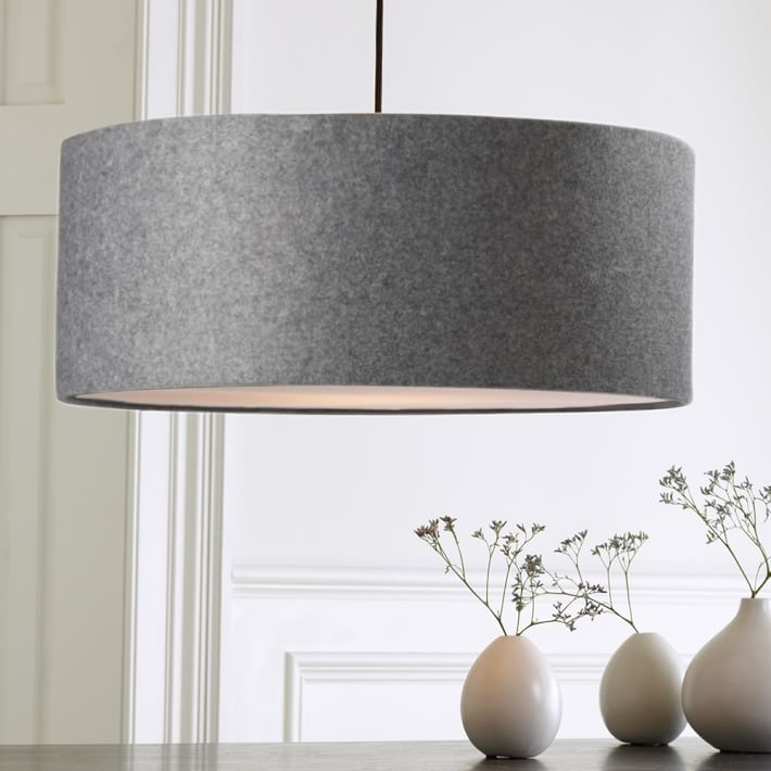Fantastic Favorite West Elm Drum Pendants For Short Drum Pendant Gray Felt West Elm (Image 9 of 25)