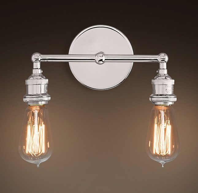 Fantastic Latest Bare Bulb Filament Pendants Polished Nickel With Secondary Bath Vanity Lighting 20th C Factory Filament Bare Bulb (Image 9 of 25)