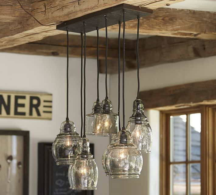 Fantastic Latest Barn Pendant Lights With Regard To Paxton Glass 8 Light Pendant Pottery Barn (Image 6 of 25)