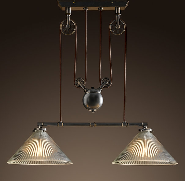 Fantastic Latest Double Pendant Light Fixtures With Regard To Vintage Ceiling Lights That Are On Pullys Industrial Pulley (Image 9 of 25)