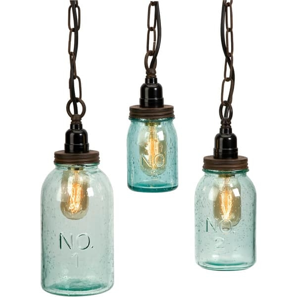 Fantastic Latest Mason Jar Pendant Lights Pertaining To Lexington Mason Jar Pendant Lights Set Of 3 Free Shipping (Image 6 of 25)
