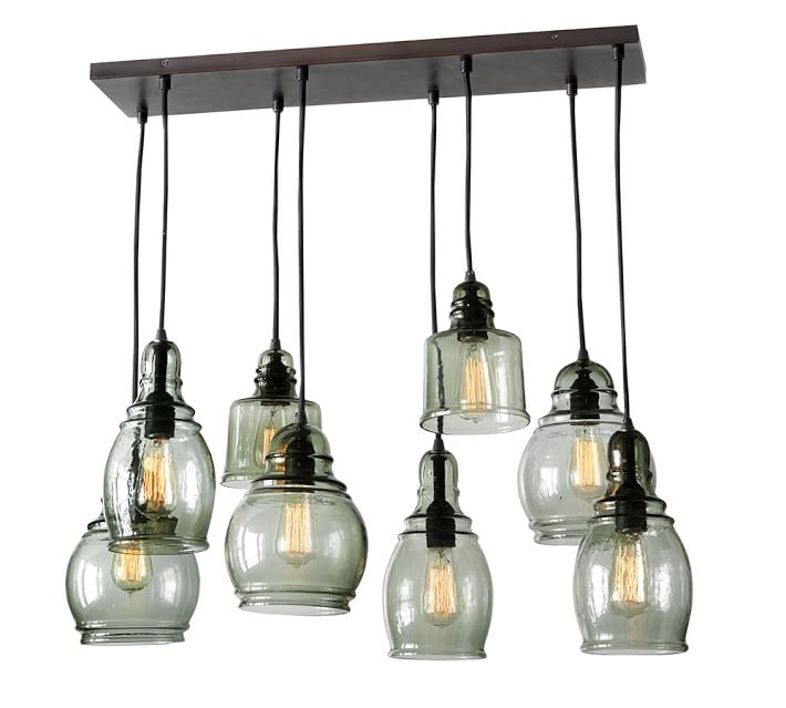 Fantastic Latest Paxton Pendant Lights Pertaining To Paxton Glass 8 Light Pendant Pottery Barn (View 3 of 25)