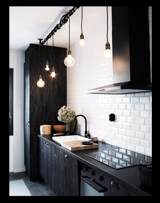 Fantastic New Bare Bulb Pendant Lighting Intended For 6 Ways To Work Black Pendant Lights Into Your Kitchen Decor Home (Image 7 of 25)