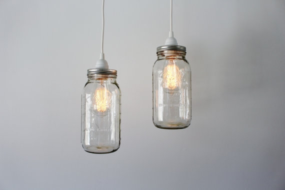 Fantastic Popular Mason Jar Pendant Lights Pertaining To Mason Jar Pendant Lights 2 Clear Half Gallon Mason Jar (Image 7 of 25)