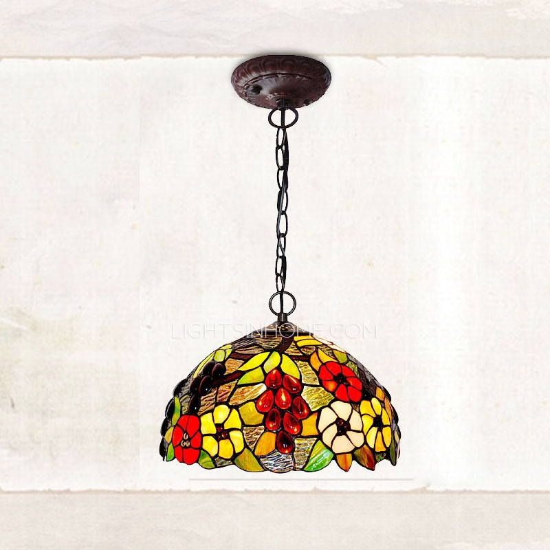 Fantastic Popular Stained Glass Pendant Light Patterns Intended For Rustic Grape Pattern Stained Glass Shade Large Kitchen Pendant Lights (Image 11 of 25)