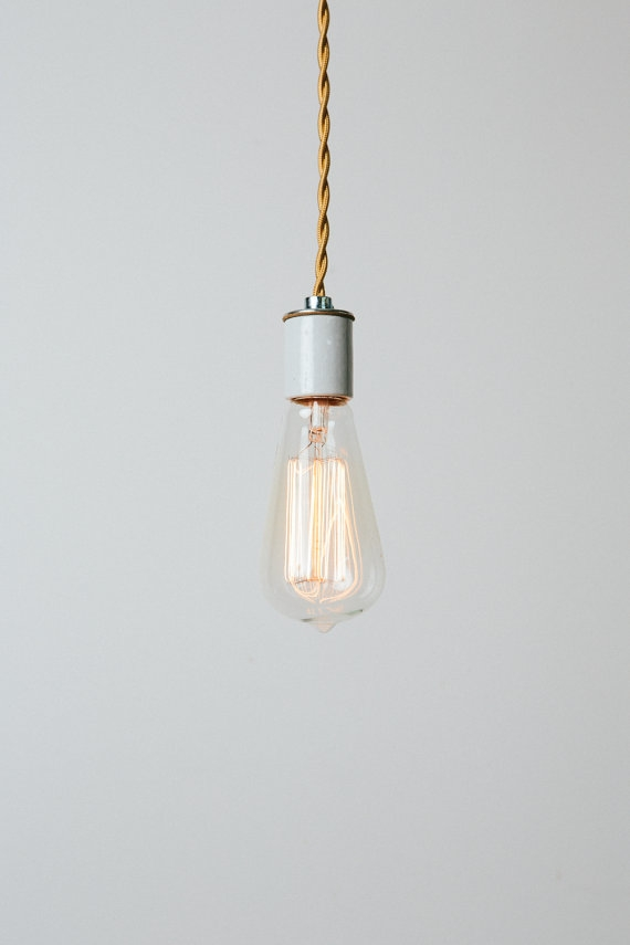 Fantastic Premium Bare Bulb Hanging Pendant Lights Throughout Bare Bulb Pendant Light With Handmade Copper Ceiling Canopy (Image 13 of 25)